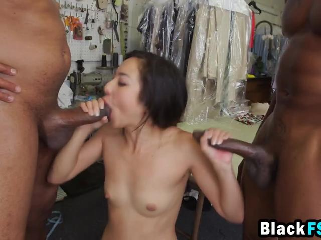 Sexy Asian cleaner strokes two black dicks and gets double penetrated