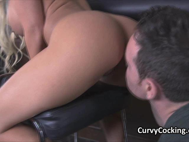 Banging curvy big tit on bar chair