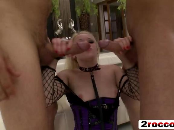A dirty Euro blonde gets all her holes drilled hard by two horny studs