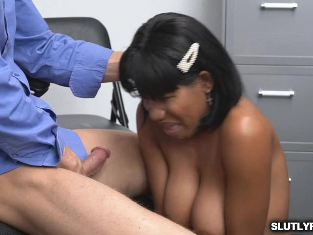 Teen Jenna's bushy pussy pounded by officer Ryan's long dong