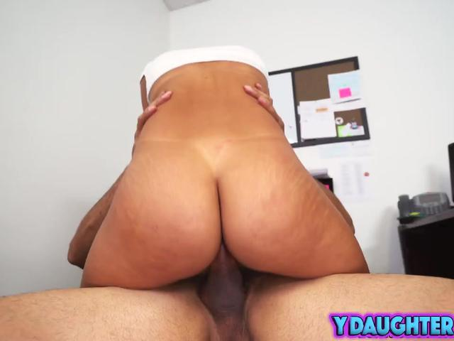 Perfect ass stepdaughter riding big cock at the office
