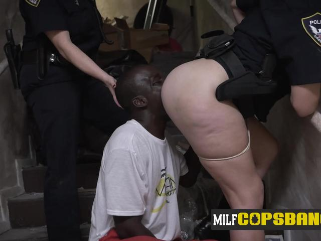 WHITE blonde cop gets rimmed on the stairs by BLACK male