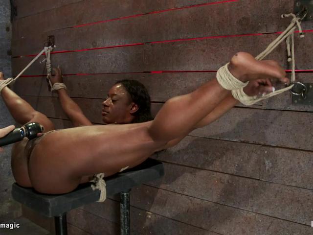 Busty ebony slave clit suctioned