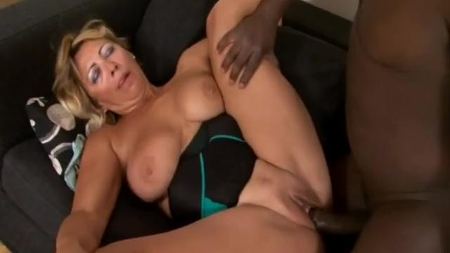Dirty big titted blonde matrure lady slammed hard by big black cock