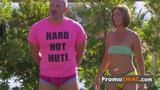 Hannah and JJ head out to the poolside to mix and mingle with other couples