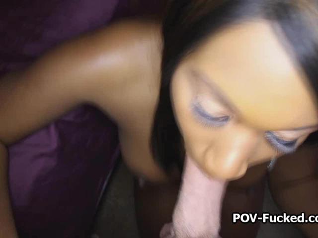 POV fun with juicy black amateur on video