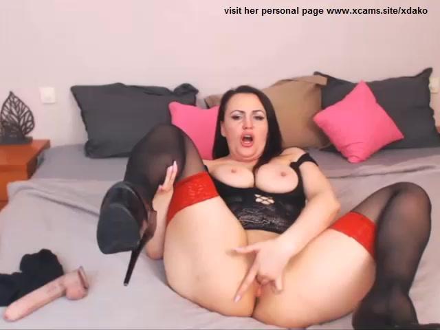 amazing big tits milf solo suck toy masturbate