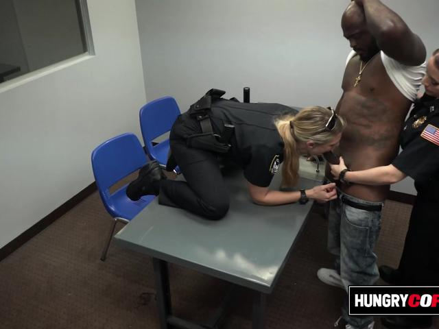 Car thief is contrived by horny milf cops into drilling their coochies