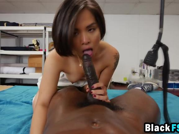 Sexy Asian Tailor Sucks Gigantic Black Cock Before Getting Fucked