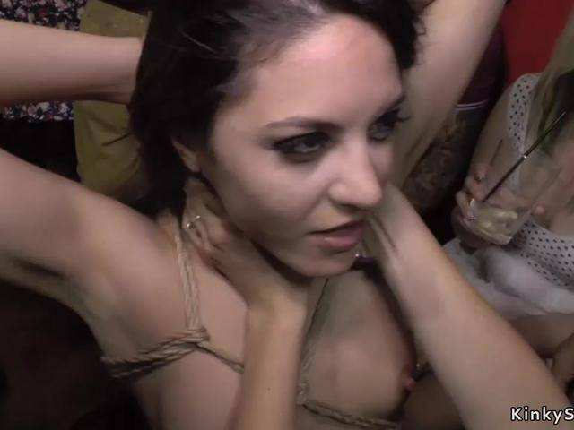 Babe disgraced with bell hanged on pussy