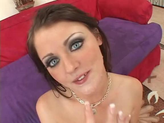 Needy Brunette's Deep Throating Gangbang
