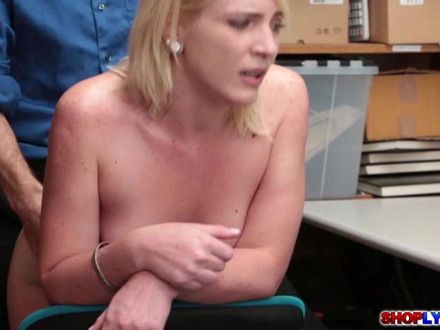 Blonde shoplifting babe Fallon gave her pussy