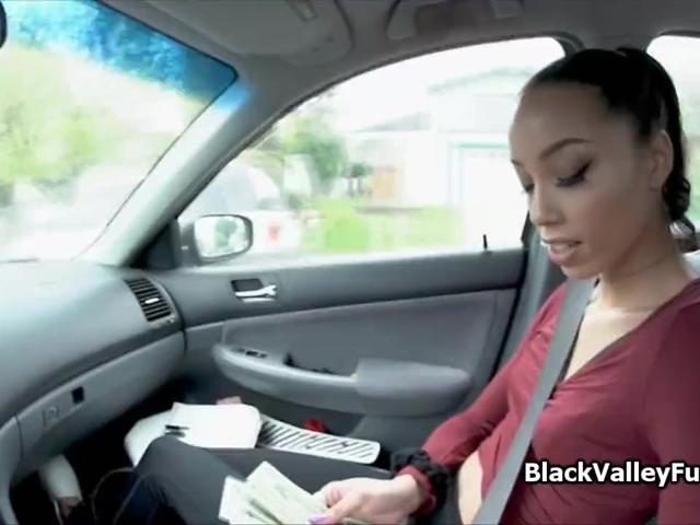 Ebony teen tips random driver with blowjob