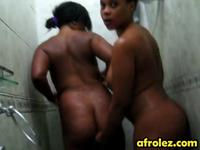 Soapy shower and hot lesbian action with busty Ebonies