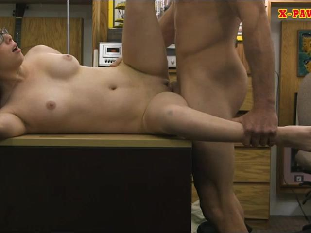 Babe wearing glasses railed by pawn man in his pawnshop
