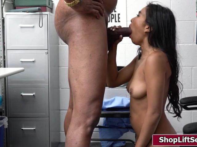 Asian thief fucked by a big black cock