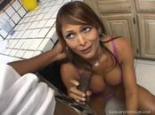 Hot Brunette Mom Goes Down On & Fucks Dark Pole