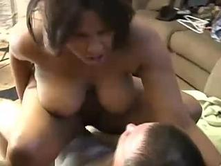 Chubby black chick has nice big tits