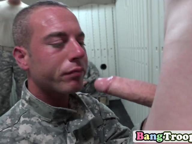 Gay soldier gets on knees and swallows big hard cock