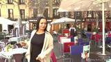 Sexy brunette disgraced around Madrid