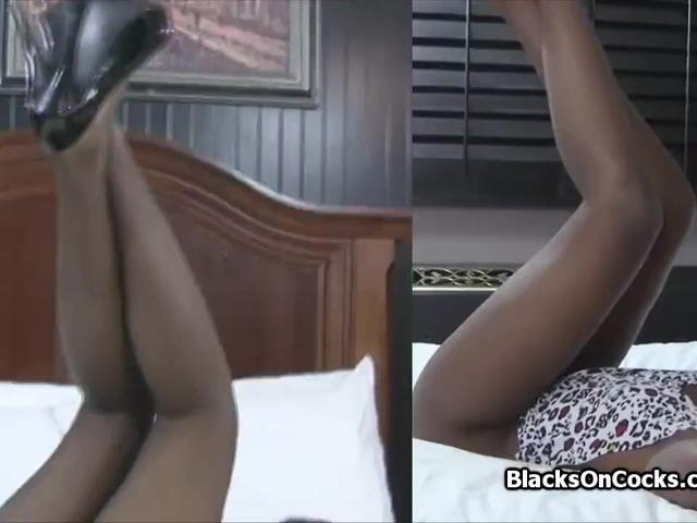 Perky black amateur on white cock casting