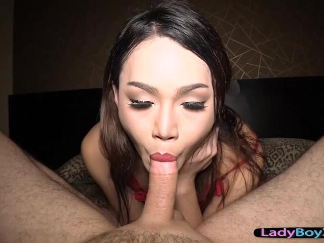 Ladyboy gives a sensual blowjob and getting a bareback cock