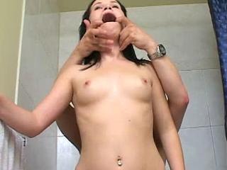 Pussy Stretching In The Bathroom With Cumshot