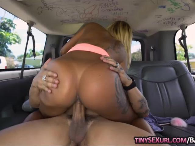 Big ass ebony gets her sweet pussy drilled on the bus