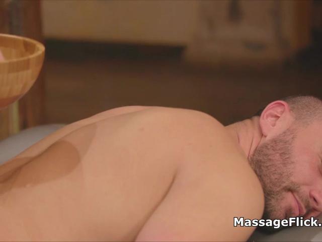 Busty blonde masseuse milks lucky client
