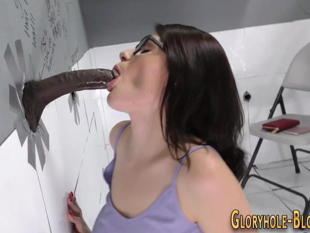 Busty slut sucks big black cock