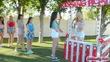 Ivy and Danni tongues each pussies at the kissing booth