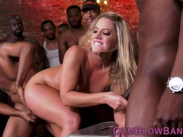 Blonde whore gets slammed by black cocks
