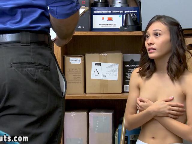 Extra small asian suspect has to fuck a big cocked cop