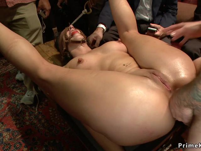 Slave gets hard dp banged in public