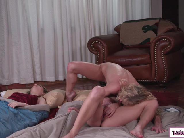Perv milf sneaks in to play with her stepdaughters pussy