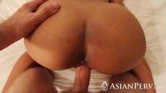 Busty Asian hottie banged with big dick