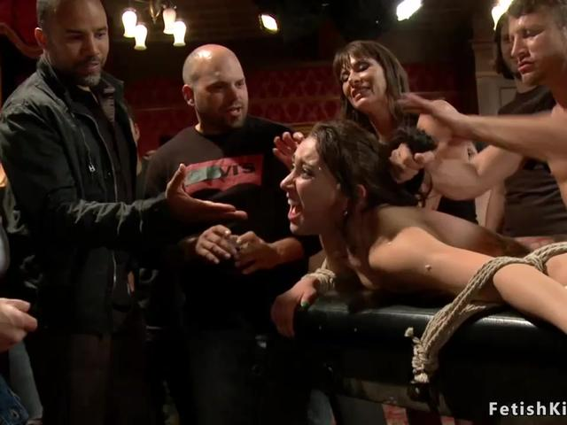 Tied slave gets rough banged in public