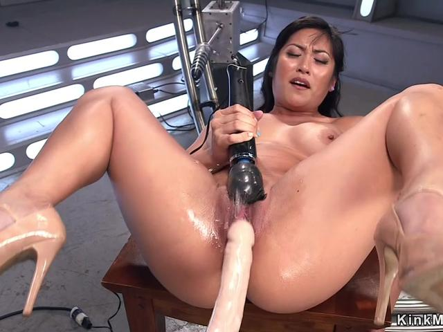 Huge tits Asian lady anal fucks machine
