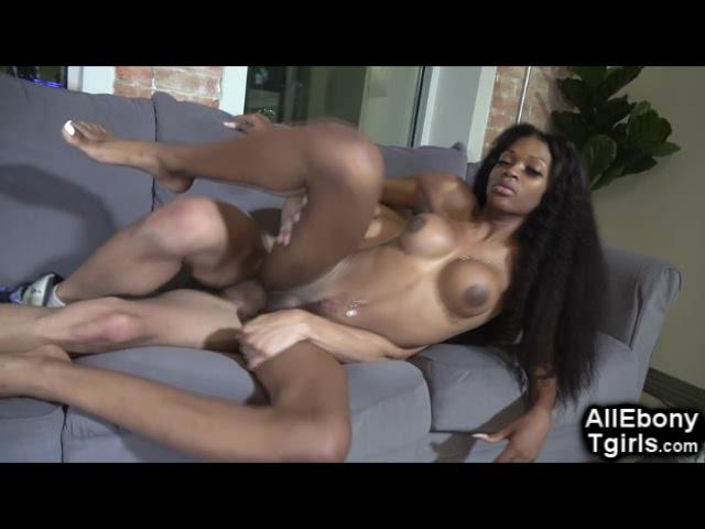 Hot Black Tgirl Pounded by White Cock!