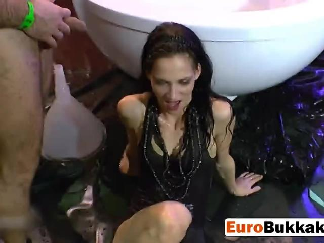 Skinny slut from Europe gets covered with piss and spunk during wild fuck party