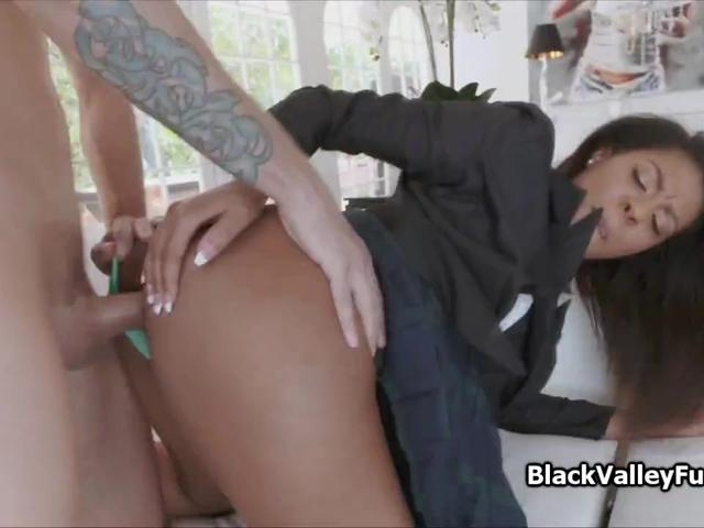 Horny ebony coed craves for vanilla cock
