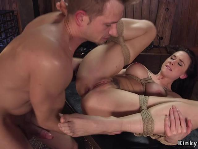 Busty date is tied and anal fucked