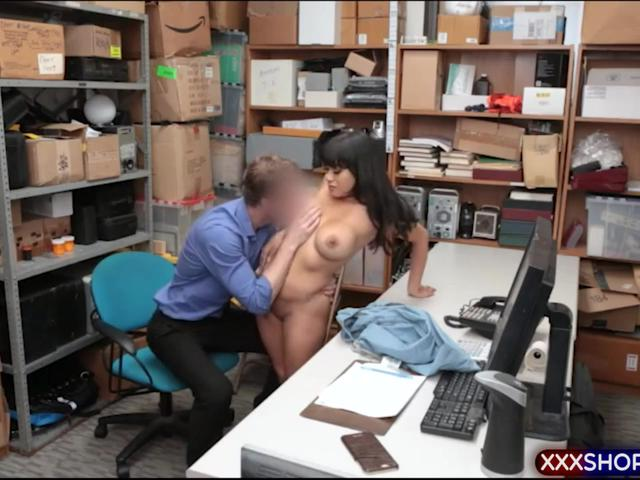 Dark haired latina punish fucked by a horny mall cop