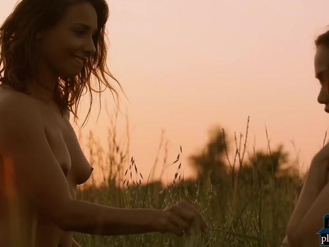 Gorgeous models enjoy the nature together in the nude