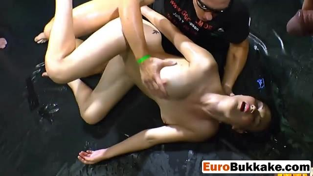 Lesbian blonde girlfriend showing pissing action with European friends