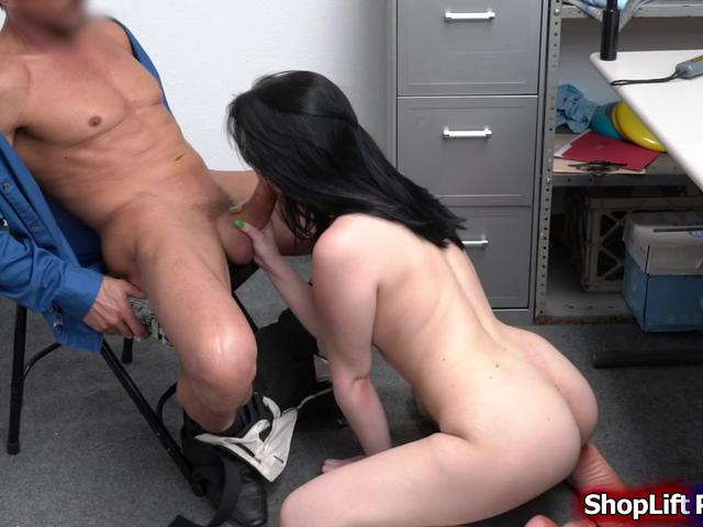 Brunette vandal sucking and banged by the security in office