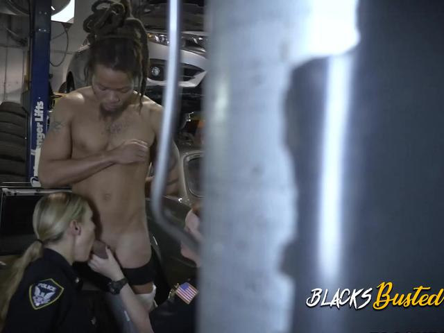 Milf cops make mechanic shop owner drill their naughty cunts