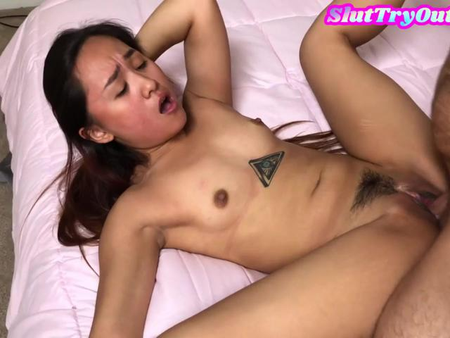 Asian slut gives bj before plowed by hubby while wife films