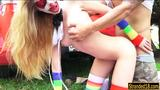 Teen in face paint Mikayla Mico sucks and banged in public