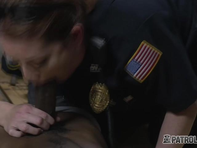 Hot threesome with a big black cock from a pimp that two horny just arrested and wanted to fuck.